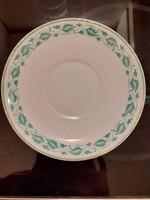 Zsolnay kistányér, zöld szegélyes tányér szészealj