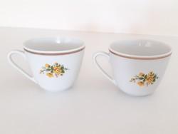 Régi Zsolnay porcelán csésze sárga virágos bögre 2 db