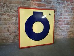 Zománc betű, nagy méretű Ó, régi tábla loft, dekoráció