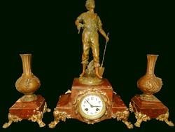 Francia késő viktoriánus kandalló óra szett vörös márvány talapzaton