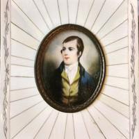 Robert burns. Biedermeier, miniature portrait.