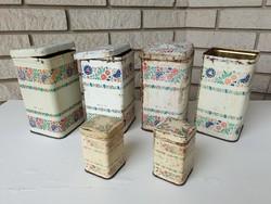 Régi konyhai tároló fém pléh doboz vintage lisztes fűszeres fémdoboz 6 db