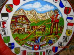 Svájc dísz tányér falitányér kantonos