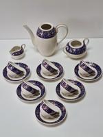 Zsolnay Egyedi, különleges kék virágmintás mokkakészlet / kávékészlet