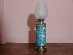 Francia majolika petróleum lámpa