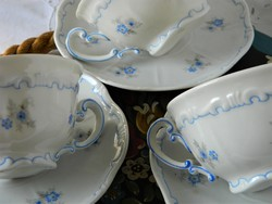 Kék virágos Zsolnay pajzspecsétes teás szett 1 db, csésze és kistányér