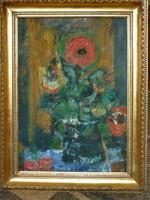 Eladó Munkácsy-díjas Sarkantyu Simon: Virágcsendélet című olaj, farost festménye