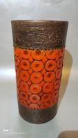 Vintage Bitossi Aldo Londi jelzett kerámia váza barna - narancs színű