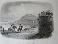 BUDAPEST BUDA GELLÉRT HEGY + PEST LÁTKÉP JELZETT METSZET KÉP CCA. 1850