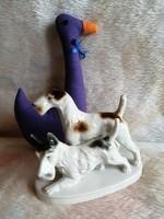 21174A33 Lippelsdorf német porcelán drótszőrű foxi kutya pár