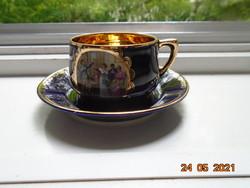 Altwien kobalt arany csésze alátéttel ,a hajdani társasági élet egy képével