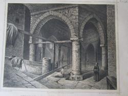 BUDAPEST BUDA JELZETT METSZET KÉP RUDASFÜRDŐ RUDAS FÜRDŐ CCA. 1850