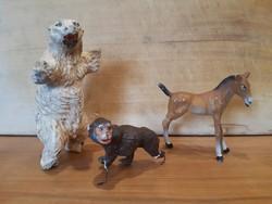 Régi játék figurák -Lineol- állatfigurák, fémvázra építve, sérültek - jegesmedve, csikó, pávián