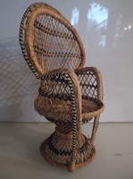 Gyékény fotel - 30 x 21 x 13 cm - Német - hibátlan - BABAGYŰJTŐKNEK