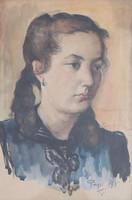 Pap Gyula: Leányportré, 1945