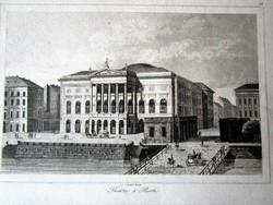 BUDAPEST JELZETT METSZET KÉP PESTHY SZINHÁZ DUNAPART CCA. 1850