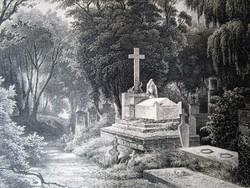 BUDAPEST PEST VÁCI ÚT TEMETŐ SÍRKERT MA LEHEL TÉR PIAC JELZETT METSZET KÉP CCA. 1850