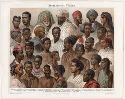 Afrikai népfajok, litográfia 1894, német nyelvű, eredeti, színes nyomat, Afrika, nép, etnográfia