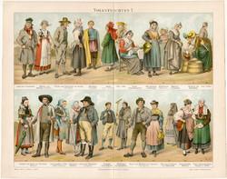 Európai népviseletek I., litográfia 1894, német nyelvű, eredeti, színes nyomat, öltözet, viselet
