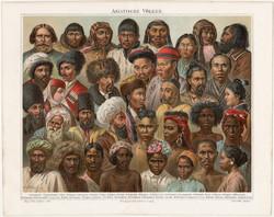 Ázsiai népfajok, litográfia 1894, színes nyomat, német nyelvű, eredeti, Ázsia, nép, etnográfia