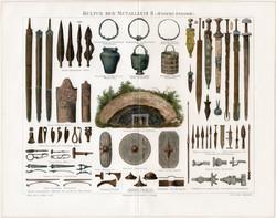 Bronzkor, vaskor II., litográfia 1894, német nyelvű, eredeti, színes nyomat, eszköz, ékszer, bronz
