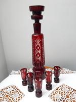 Bordó csiszolt antik ajkai ólomkristály pálinkás készlet kiöntő üveg dugóval + 5 db pohár