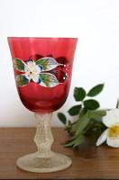 Antik, festett üveg pohár, kézi festés, likőrös pohár, boros pohár