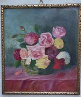 Csendélet festmény olaj kép keretben dekoratív,nyàri hangulat.