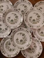 Alföldi jelzett porcelán szőlőlevél mintás kis lapos tányér 11db