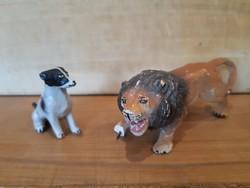 Régi játék oroszlán és kutya figur -Lineol- nagyon szép állapotban, fémvázra építve, háború előtti