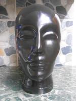 ADL üvegfej szobor parókatartó kalaptartó fekete 24*20*14 cm