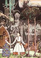 Szecessziós mese illusztráció reprint nyomat 1914 Nielsen királykisasszony királyfi farkas búcsú