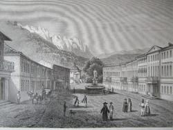 MEHÁDIAI FÜRDŐ MA , (1888-tól) HERKULESFÜRDŐ LÁTKÉP JELZETT ROHBOCK METSZET KÉP CCA. 1850