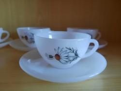 Retro, vintage Arcopal hőálló tejüveg, kamillás kávés-teás készlet.   3900.-Ft