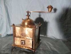 Szép antik csupa réz kávé daráló ritka embléma