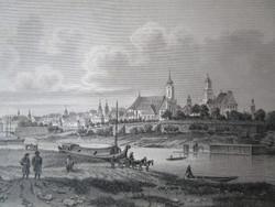 GYŐR ÉSZAKRÓL ÉSZAK LÁTKÉP JELZETT ROHBOCK METSZET KÉP CCA. 1850