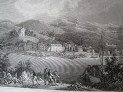 MAGYARORSZÁG BATTINA A DUNÁNÁL LÁTKÉP JELZETT METSZET KÉP CCA. 1850