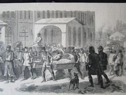 BUDAPEST PESTH FORRADALOM SEBESÜLTEK CSOPORTJA JELZETT METSZET KÉP CCA. 1850 -TŐL