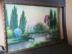 Régi hattyús festett kép