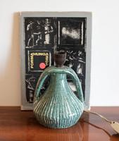 Retro kerámia lámpatest, mentazöld csíkos lámpa - jelzett zsűrizett iparművészeti kerámia