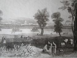 VÁC LÁTKÉP JELZETT METSZET KÉP CCA. 1850