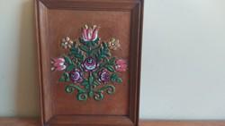 Festett réz falikép, kézműves alkotás - jelzéssel. (4)