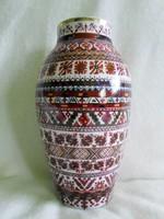 Antik jelzett álomszép nagy öblös váza, pazar kézi festéssel  26,5 cm