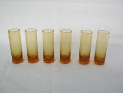 Retro karcagi sárga fátyolüveg repesztett üveg likőrös pohár 6 db