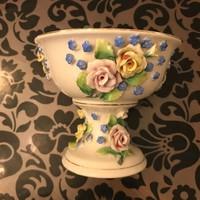 Antik rózsás nefelejcses álomszép porcelán talpas kináló
