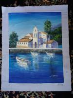 Olajkép mediterrán tájkép olaj festmény oil painting
