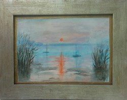 Tranquility on Lake Balaton. 31X22cm.From the studio. The prize-winning work of Károlyfi sófia with a new gold frame