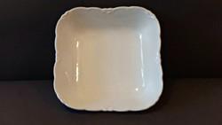 Antik, HÜTTL TIVADAR , négyszögletes, fehér porcelán tál.por