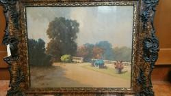 "Neogrády Antal  akvarell   ""kastélypark"""