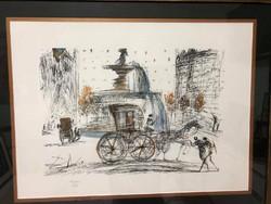"""SALVADOR DALI """"New York City PLAZA"""" nagy méretű litográfia-1964- keretezett mérete:79 x 62 cm"""